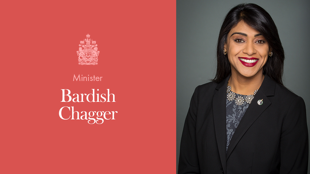 The Honourable Bardish Chagger, Minister of Diversity and Inclusion and Youth
